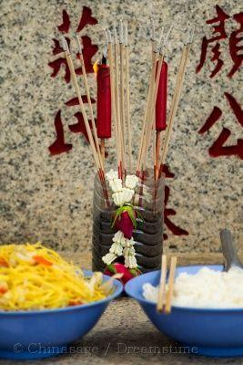 ancestor veneration, joss stick, food