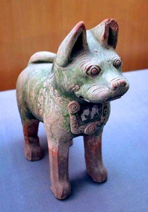 dog, han dynasty, pottery