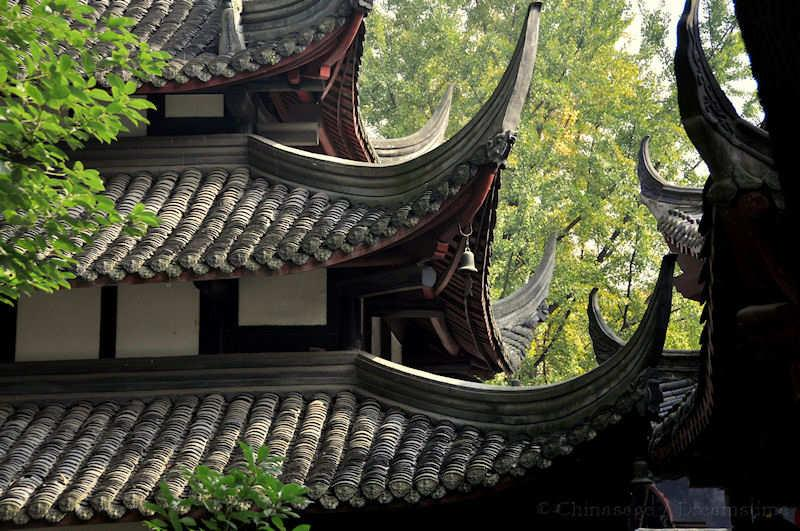Buddhism Temple Roof Sichuan