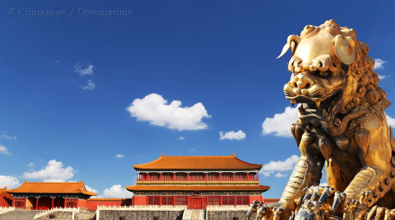 Forbidden City, lion, Beijing