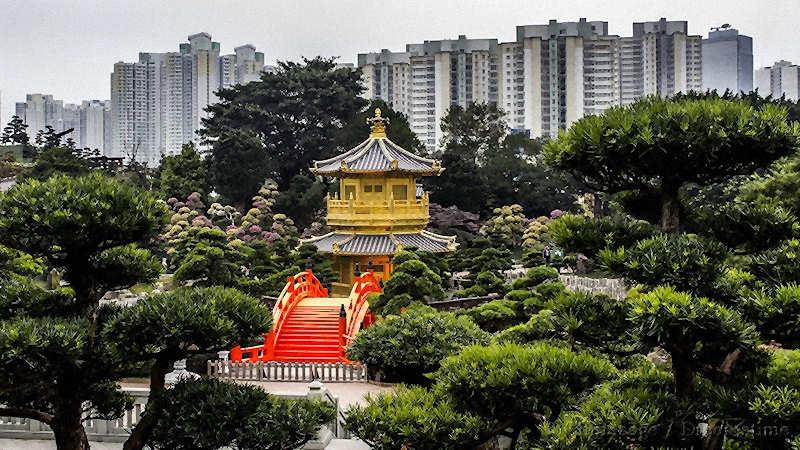 Hong Kong, park, modern housing