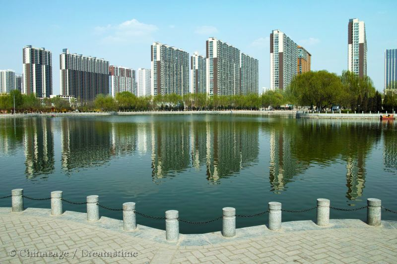 Shanxi, Taiyuan, lake, modern housing
