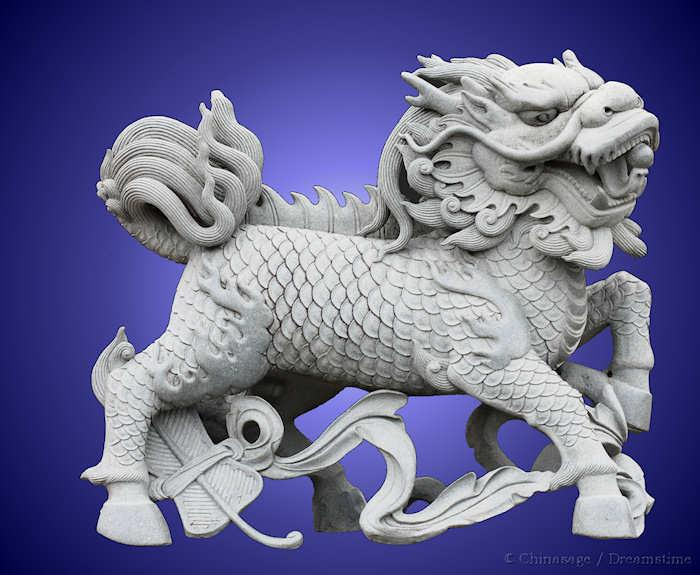 qilin, carving