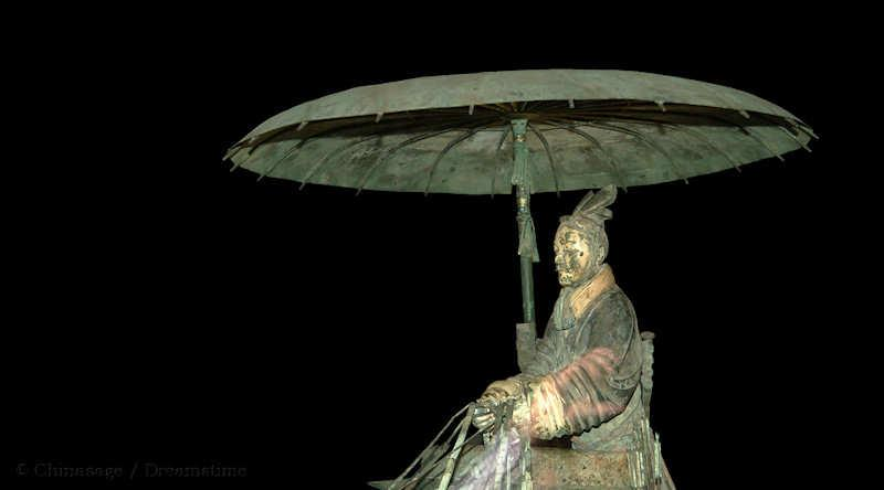 Qin dynasty, Terracotta army, chariot, umbrella