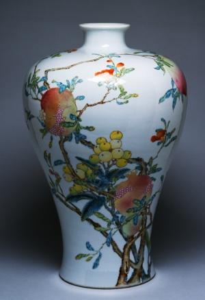 vase, peach, pomegranate, longan