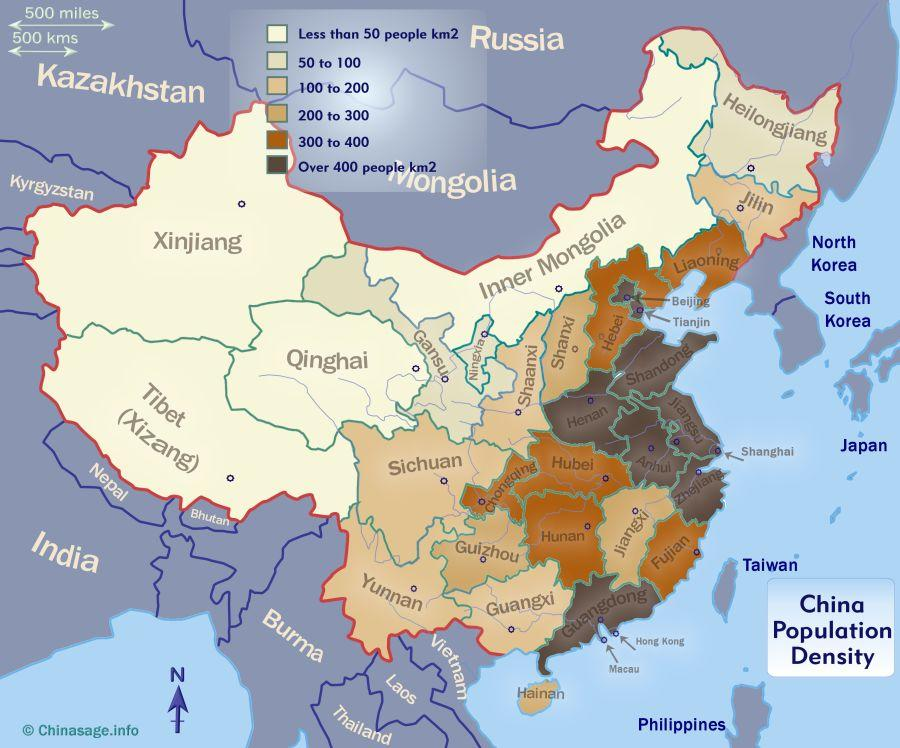 Map of population density in China