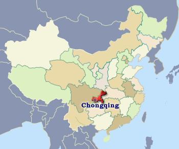 City of Chongqing, Central China Chongqing China Map on