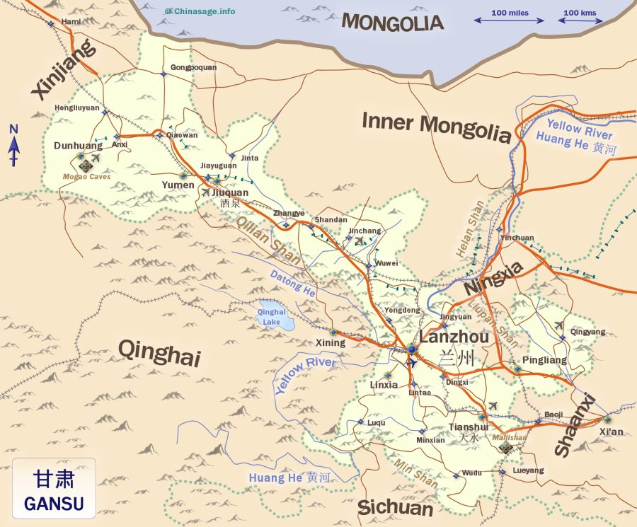 Map of Gansu,Gansu province map