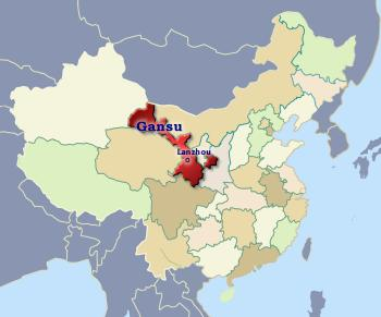 Position of Gansu in China