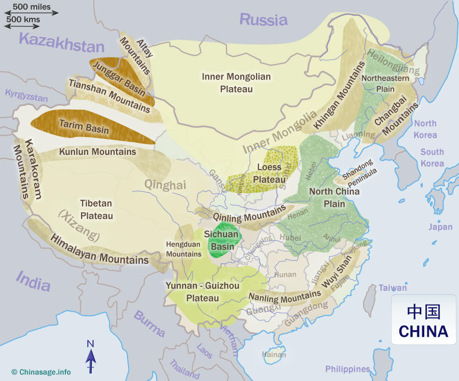map of china with geographic features Geography Of China map of china with geographic features