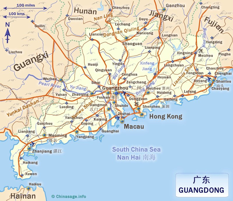 Map of Guangdong,Guangdong province map