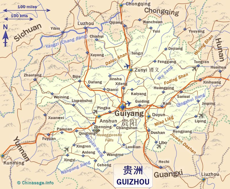 Map of Guizhou,Guizhou province map