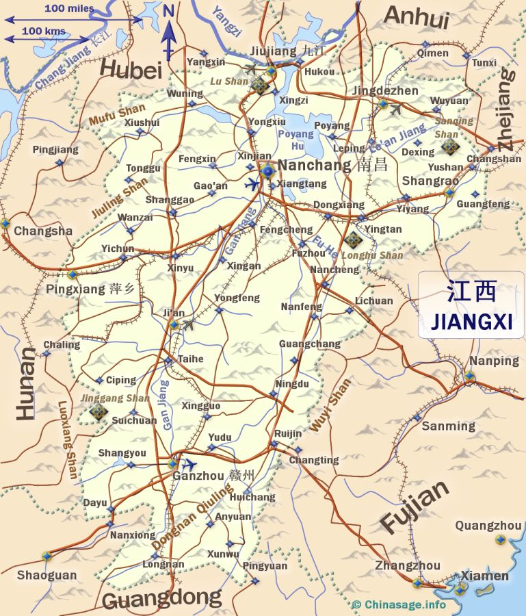 Jiangxi China - Jingdezhen map