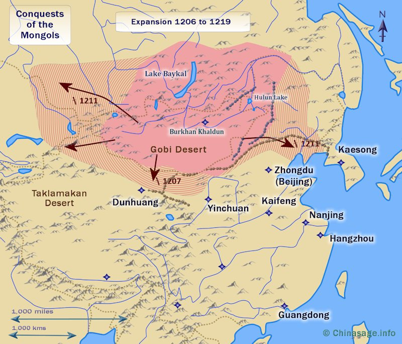 Map of conquest of Jin and Xi Xia 1206-19