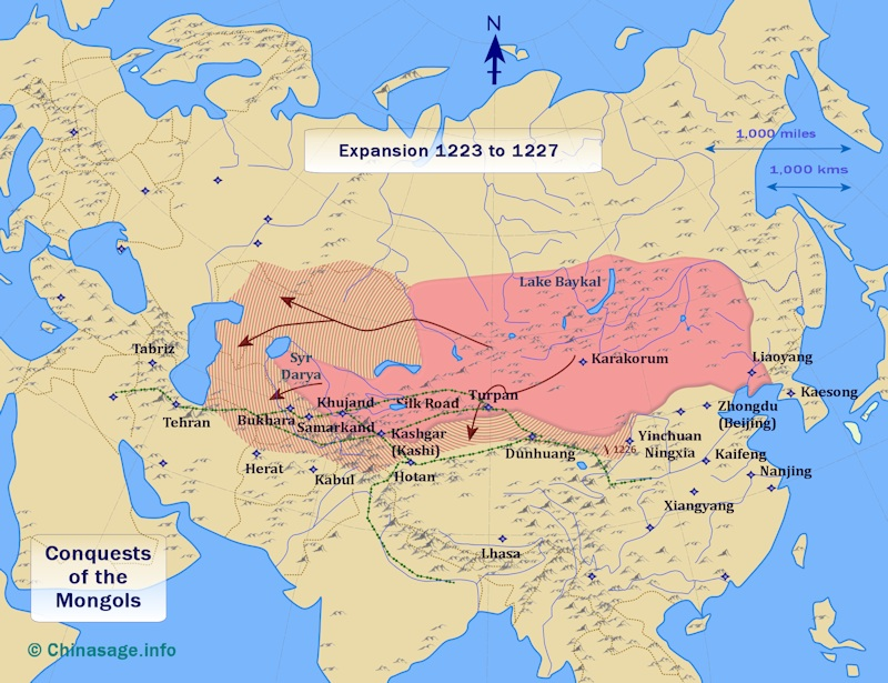 Map of Mongol expansion 1223-27