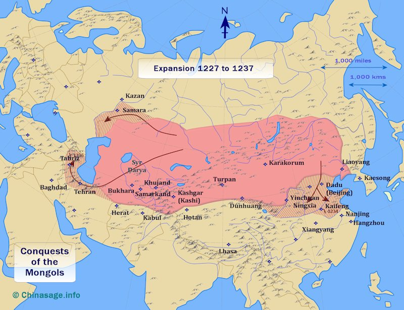 Map of Mongol conquest 1227-37