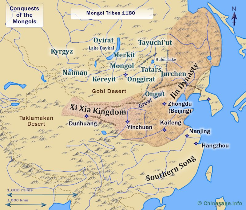 The tribes of Mongolia c.1175