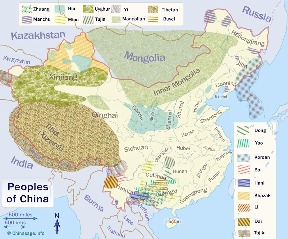 Map of distribution of the ethnoic peoples of China
