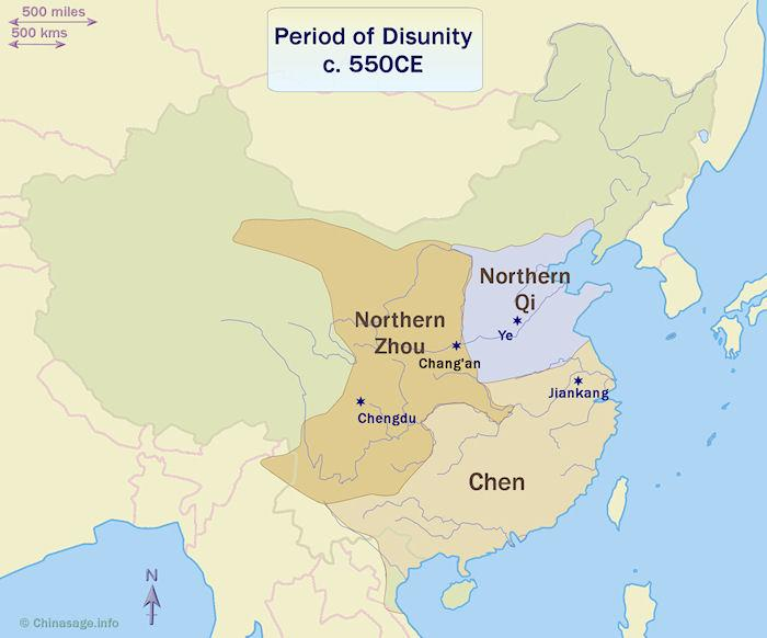 Period of disunity 220 - 589 including the Three Kingdoms Period on