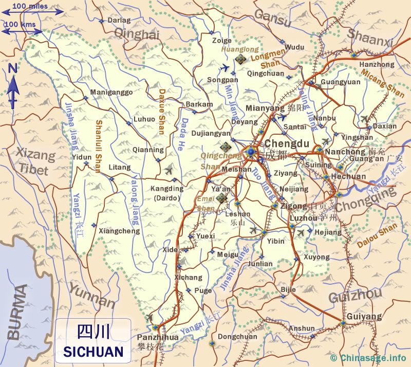 Map of Sichuan,Sichuan province map