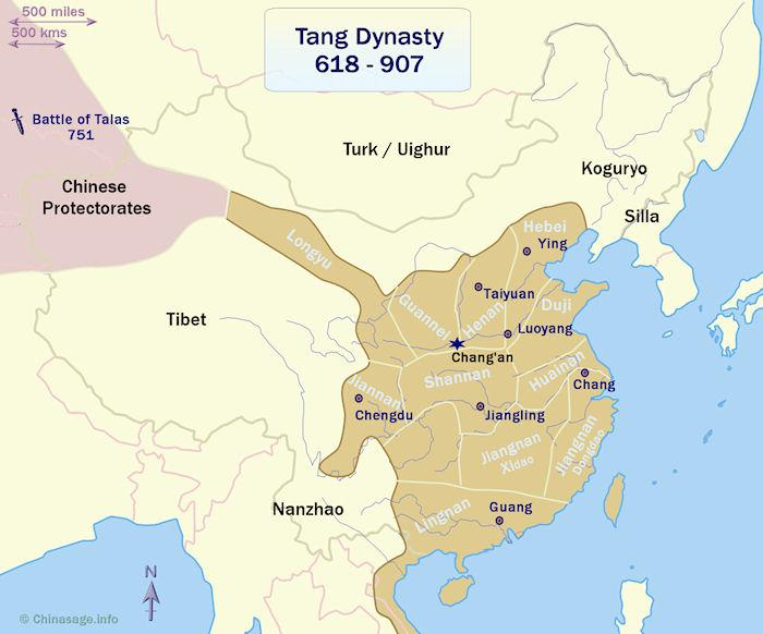The illustrious tang chinese dynasty 618 907 tang dynasty china map sciox Choice Image