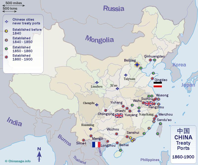 Foreign treaty ports and enclaves in China on