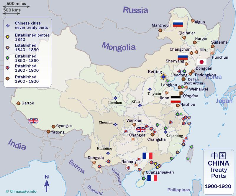 Treaty ports in china map of treaty ports gumiabroncs Choice Image