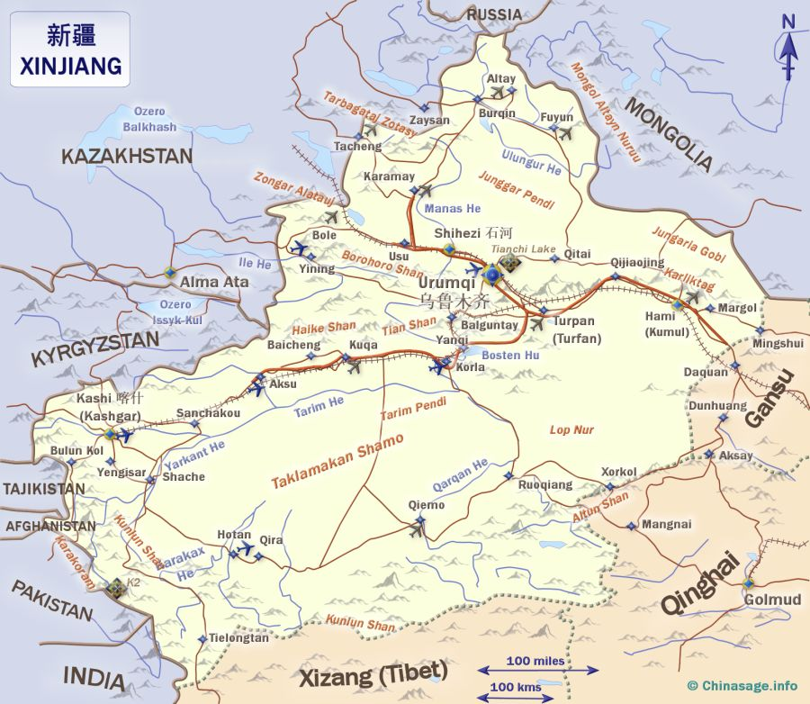 Map of Xinjiang,Xinjiang province map