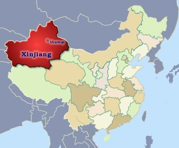 Position of Xinjiang in China