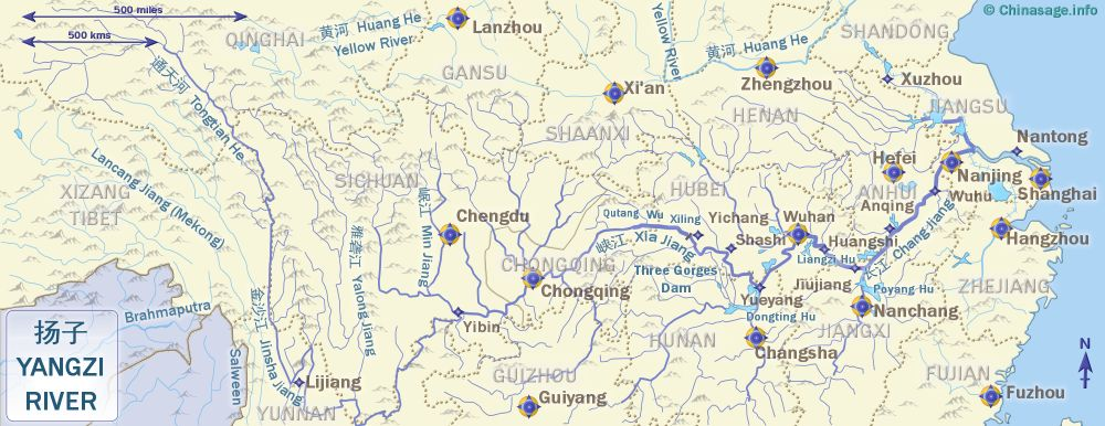 Map of Yangzi River, China