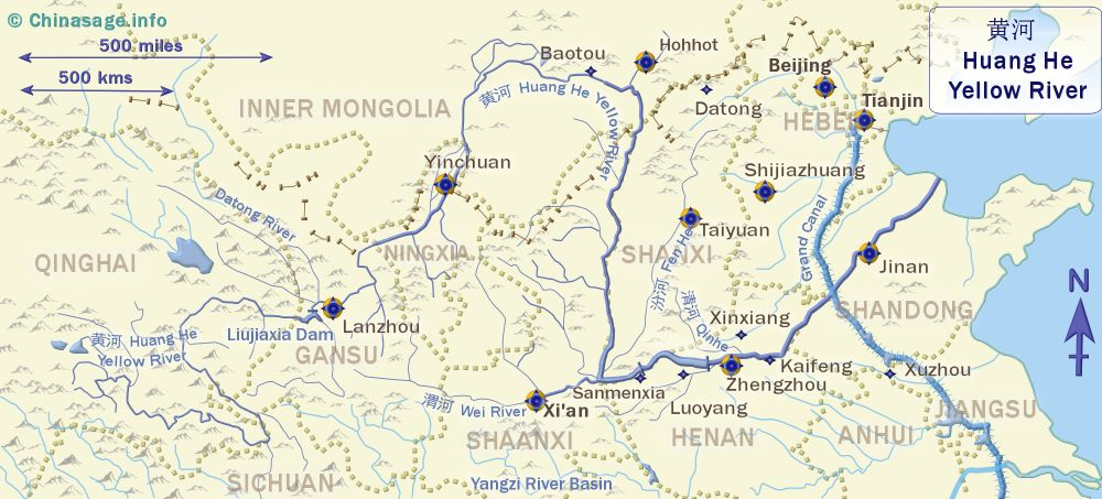 Map of Yellow River,Huang He